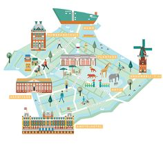 or IAmsterdam and Amsterdam Marketing, I illustrated ten maps to show each area of Amsterdam. I illustrated the unique character and charm, variety of shops, restaurants and cafes, museums and attractions. This neighborhood maps guide shows you the most s…