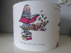 Roald Dahl Matilda or Big Friendly Giant Quentin Blake Illustrations Children's Fabric Drum Lampshade - 30cm & 20cm diameter by StitchAnnStyle on Etsy https://www.etsy.com/listing/205132378/roald-dahl-matilda-or-big-friendly-giant