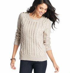 LOFT Petite Button Shoulder Cable Sweater on shopstyle.com