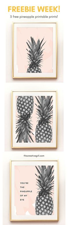 Happy Freebie week! Come download these 3 FREE printable pineapple prints, just in time for summer! You're the pineapple of my eye. :)