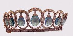 Segunda versión de la tiara de aguamarinas de la reina Victoria Eugenia