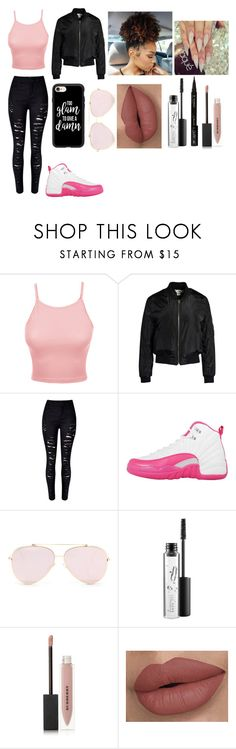 """""""Too Glam"""" by jaden-norman ❤ liked on Polyvore featuring LE3NO, Sans Souci, NIKE, MAC Cosmetics, Burberry and Casetify"""