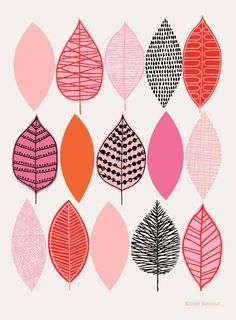 Pink Leaves is the newest in my range of leaf-inspired artworks. It is a more illustrative version of my popular (and a little more abstract) Spring Sampler design, with hand drawn details and textures. Ikea Frames, Pink Leaves, Plant Illustration, Mark Making, Design Elements, Print Patterns, Giclee Print, Pattern Design, How To Draw Hands