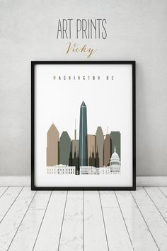 Washington Dc Print Poster Wall Art Washington Dc Skyline Travel Cityscape City Prints Home Decor Wall Decor Gift Artprintsvicky