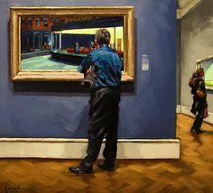 """Thursday Nighthawks"" - by Karin Jurick ~Oil on masonite Painting People, Figure Painting, Atlanta, Frank Dicksee, Berthe Morisot, Franz Kline, Gustav Klimt, Andrew Wyeth, Edward Hopper"