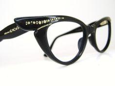 Vintage 50s Black Pointy Cat Eye Glasses