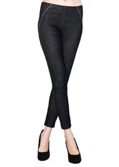 Yelete Jean Leggings with Leopard Trim Pockets Jeggings - Black - One Size Yelete. $29.99. Decorative piping at the front waistline. cotton/elastane. Comfortable elastic waistband. Has the look of skinny jeans. Back pockets trimmed with decorative leopard print fabric. 92% Cotton, 8% Elastane