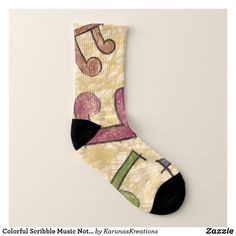 Colourful Scribble Music Notes Socks