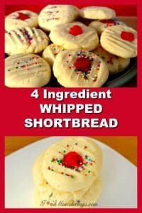 4 Ingredient Whipped Shortbread |melt in you mouth - foodmeanderings.com #shortbread #cookies #holiday #easy #easyrecipe #4ingredient #foodmeanderings #christmas #sweet #baking #holidaybaking
