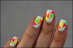 Neon triangle nail art!