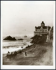 Image may contain: one or more people, ocean, sky, outdoor and water Cliff House - 1900 Cliff House San Francisco, San Francisco City, Old Pictures, Old Photos, Ghost House, House By The Sea, North Beach, Beautiful Horses, Back In The Day