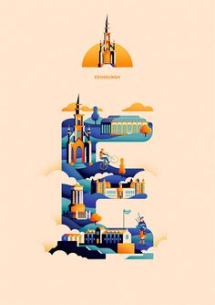 jack daly expresses his wanderlust in an A to Z of worldwide adventures is part of Creative typography - glasgow based illustrator jack daly combines his three favourite things — illustration, typography and travel — in an A to Z of colorful cityscapes Design Sites, Graphisches Design, Grid Design, City Illustration, Graphic Design Illustration, Digital Illustration, Creative Typography, Typography Design, Typography Alphabet