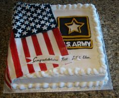 Army Retirement Cake - This is the cake I did for my husband's party for his retirement from the Army after 35 years of service. WASC cake with raspberry filling and french vanilla buttercream. The Army logo and flag are fondant. I got the idea from a Army Cake, Military Cake, Military Party, Army Party, Military Retirement Parties, Retirement Celebration, Retirement Cakes, Retirement Planning, Retirement Countdown