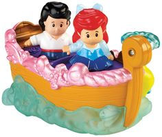 Fisher-Price Little People Disney Princess Ariel's Boat Ride Toy. Roll along to see Flounder's water fountain go up and down!. Includes Ariel and Eric figures by Little People. Bring it to the Disney Princess Songs Palace by Little People for even more magical adventures!. Kids will love recreating their favorite scenes from Disney's Little Mermaid. Collect all your favorite Disney Princesses (sold separately).
