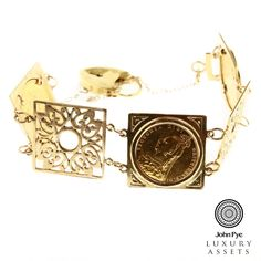 9ct gold bracelet containing three mounted sovereign coins with located and safety chain