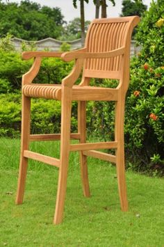 GradeA Teak Wood Outdoor Patio Garden Giva 30 Seat High Arm  Captain Bar Chair ** Click image for more details.