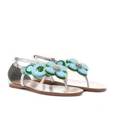 Miu Miu Glitter-Trimmed Metallic Leather Sandals - Polyvore