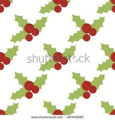 Vector seamless pattern with holly berries. Christmas wrapping paper background. Pattern for fabric print, cards design