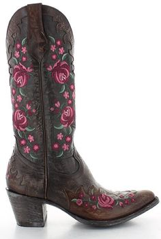 Old Gringo Martina Pink Chocolate Old Gringo Boots, Pink Chocolate, Fashion Marketing, Fashion Heels, Cowgirl Boots, Shoe Boots, Shoes, Floral Embroidery, Brown Leather