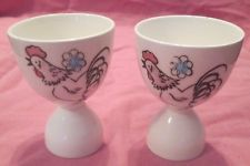 2 LARGE VINTAGE ROOSTER DOUBLE EGG CUPS - JAPAN