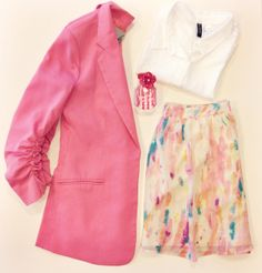 """What We Would Wear: The Mean Girls Edition - """"I'm pretty much obsessed with my pink blazer from Audrey 3+1. It's a statement piece that I really can't get enough of for both work and drinks afterwards. I like to pair it with this paint splattered-inspired skirt. It's a great way to pick up some of the pink from the jacket but still incorporate other pastel colors—a staple for spring! Of course I have to top it off with the perfect scent. I'm currently loving Victoria Secret's Bombshell in…"""