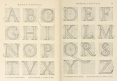Roman #alphabet with scheme of construction | Letters & lettering; a treatise with 200 examples (1902), Frank Chouteau Brown