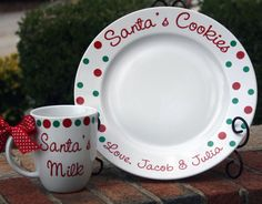 Personalized Santa's Plate and Mug w/ Bowl for Reindeer Treats