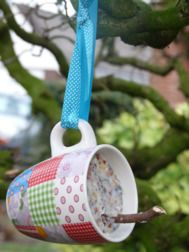 What a perfect use for old cups!  Great craft for both adults and kids