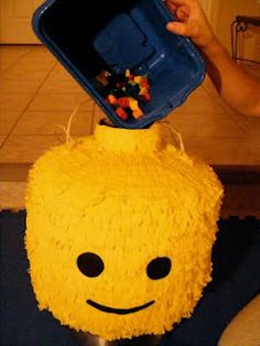 Lego pinata filled with legos and candy