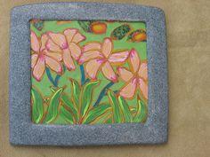 """Franjipani"" Polymer Clay Wall Art - by jessmade4u, via Flickr"