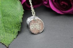 Handmade sterling silver disc that has been hand stamped with a beautiful dandelion and floating wishes stamp, to create the look of a field of wishes.This item is made to order and can take 1-2 weeks sometimes longer if i am very busy, please do get in touch if you need this for a special occasion.