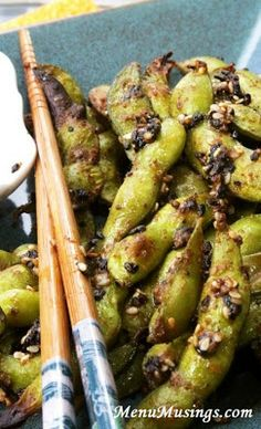 Chili Roasted Edamame - Less than 15 minutes separate you from this awesome little appetizer!  Exciting flavors on the outside, buttery soft on the inside!