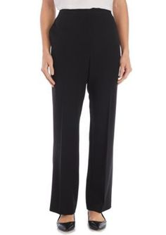 Alfred Dunner Women's Petite High Roller Solid Proportioned Medium Pant - Onyx - 18P