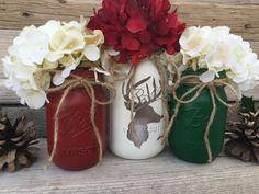 Mason Jar Christmas Decor Reindeer by CountryHomeandHeart on Etsy