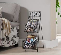 Kings Brand Furniture Black Finish Metal 2 Tier Magazine Rack Stand -- Find out more details by clicking the image : Magazine Holders