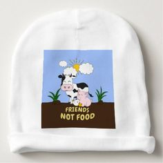 #cute #baby #beanies #babybeanies - #Friends Not Food - Cute Cow Pig and Chicken Baby Beanie