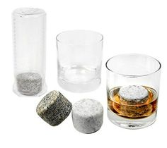 """Set of 4 Oversized Granite Whiskey Chilling Stones """"On The Rocks"""" with two 10-Ounce Tumblers and Freezer Storage Tube by Sea Stones ..."""