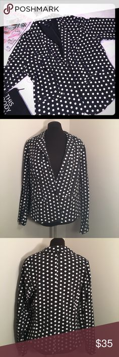"LANE BRYANT Polka Dot Blazer Dark gray knit one button blazer with white screen printed polka dots. No pockets. *note: one of the dots was screen printed incorrectly, has a slight discoloration, see photo""  ▪REASONABLE OFFERS WELCOMED or BUNDLE FOR 15% OFF!▪️ Lane Bryant Jackets & Coats Blazers"