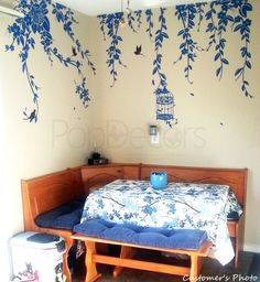 Nature Design Wall Decals Nursery Room Stickers- Elegant Leaves, Bird Cage with Flying Birds (122 inch W)- Designed by Pop Decors pt0178 by PopDecors on Etsy https://www.etsy.com/listing/110452015/nature-design-wall-decals-nursery-room