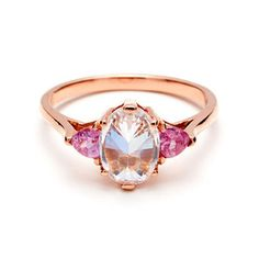 White Diamond and Pink Sapphire Oval Bea Ring - Anna Sheffield