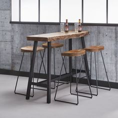 Bartisch Table Bar Acacia Wood Edge Edge Industrial 125 x 46 - stool Bar Table Sets, Patio Bar Set, Bar Chairs, Table And Chairs, Dining Table, Room Chairs, Dining Chairs, Bar Table Design, Cafe Tables