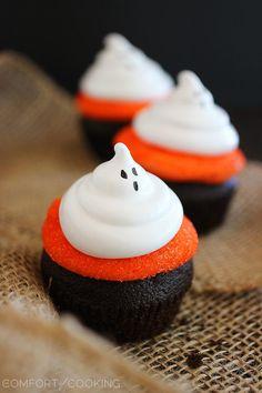Dark Chocolate Cupcakes with Meringue Ghosts