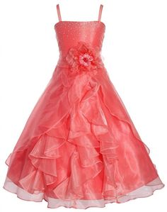 Amazon.com: Wonder Girl Lily Big Girls' Organza Tea Length Long Rhinestone Dress: Special Occasion Dresses: Clothing