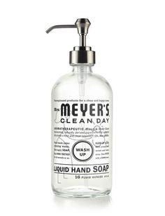 Mrs. Meyer's Clean Day Glass Hand Soap Bottle is a refillable bottle with brushed nickel pump.  This sturdy glass vessel comes unfilled and holds up to 16 oz of earth-friendly Liquid Hand Soap. Fill it up again and again with your favorite scent. Then roll up your shirt sleeves and get down to business. Lather, rinse, no need to repeat.