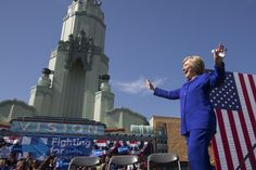 Democratic presidential candidate Hillary Clinton arrives at the South Los Angeles Get Out The Vote Rally at Leimert Park Village Plaza on June 6, 2016, in Los Angeles, Calif. The presidential hopeful is attending a series of campaign stops on the eve of the California presidential primary election, where polls indicate a close divide between Clinton supporters and those of her Democratic rival, Sen. Bernie Sanders. (David McNew/Getty Images)