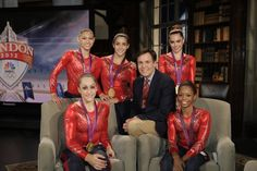 "Summer Games prime-time host Bob Costas and the ""Fab Five"" of Gold Medal winning U.S. women's gymnastics team. Description from unclebarky.com. I searched for this on bing.com/images"