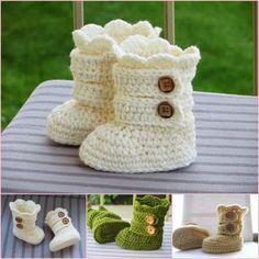 crochet snow boots pattern wonderfuldiy Wonderful DIY Classic Crochet Snow Boots and 20 FREE Booties Patterns Crochet Baby Blanket Beginner, Baby Girl Crochet, Crochet Baby Booties, Crochet For Kids, Diy Crochet, Crochet Crafts, Crochet Projects, Tutorial Crochet, Knitted Baby