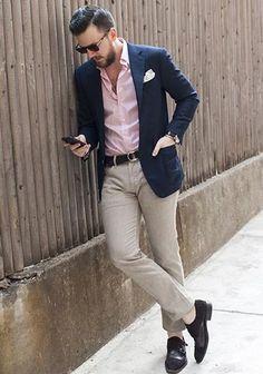 Navy jacket / Pink shirt / Chino pants / Black dress shoes