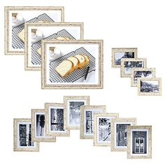 KARMAS PRODUCT 15pc Multi Pack Picture Frame Value Set - Three 8x10 in Eight 5x7 in Four 3.5x5 inIncluding White Picture Mats (white)