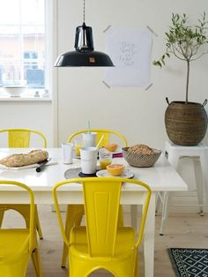 Yellow dining room chair cushions the complete guide to purchase modern chairs astounding industrial colorful kitchen design industria Dining Room Chair Cushions, Living Room Chairs, Dining Chairs, Furniture Chairs, Sofa Chair, Kitchen Chairs, Kitchen Decor, Kitchen Design, Decoration Design